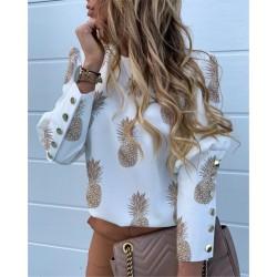 Elegante lockere Bluse - Langarmshirt - mit Zierknöpfen - Ananas-Print