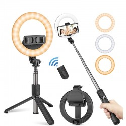 4 in 1 selfie stick - LED ring light - wireless - Bluetooth - mini handheld tripod- with remote