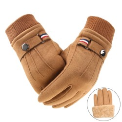 Winter suede gloves - touch screen function - windproof - anti-slip - unisex