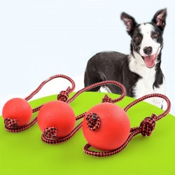 Rubberen trainingsbal voor honden - tandenpoetsen - met touw