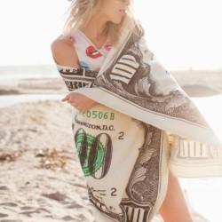 100 US dollar print - bath / beach towel - quick drying - 70 * 140cm