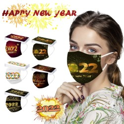 Happy New Year 2022 - face / mouth protective masks - disposable - 3-ply - 50 pieces