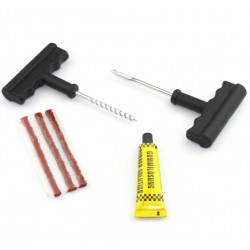 Motorcycle - car tubeless tire puncture repair tool kit tire plug 3 strips