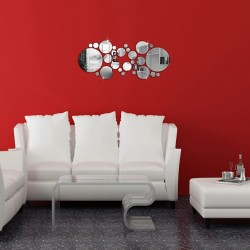 Silver Polka Dot Mirror Wall Stickers Set