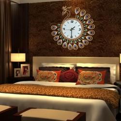 Antique Style Diamond Peacock Large Wall Clock