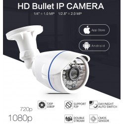 720p / 1080p HD outdoor IP security camera - 1.0 MP / 2.0 MP - waterproof - night vision