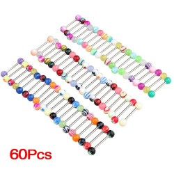 Tongue Piercing Barball 60 pcs
