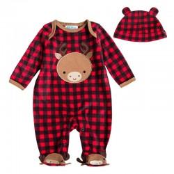 Baby jongen / meisje fleece jumpsuit met lange mouwen en capuchon met hoed