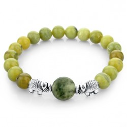 Green natural stone beads & silver elephant bracelet