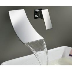 Chrome Brass Wall Mounted Waterfall Bathroom Faucet