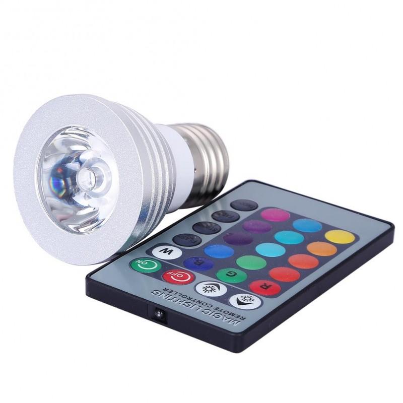 3W E27 E14 GU10 RGB LED Bulb LED Spotlight With IR Remote Controller