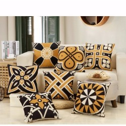Geometric Square Pillowcase Cushion Cover Cotton 45 * 45cm