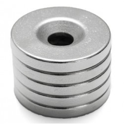 N35 Neodymium Magnet Strong Round Countersunk Ring 20 * 3mm With 5mm Hole 5pcs