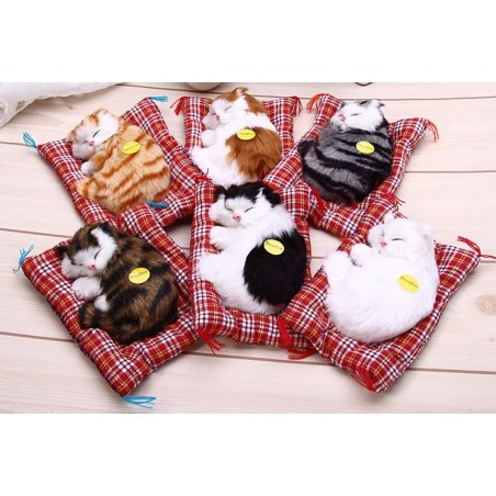 Animal Doll Plush Sleeping Cat With Sound Toy