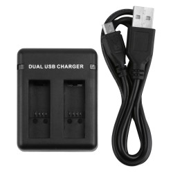 Dual Port Slot Battery Charger For GoPro Hero 5 Camera With USB Cable