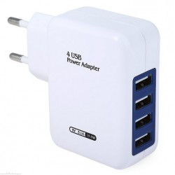 EU Plug 4 USB Ports Wall Charger Adapter