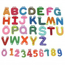 Kleurrijke Houten Letters Nummers Koelkastmagneten 36 Stuks |