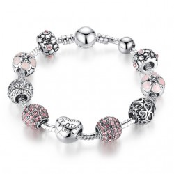 Silver Charm Bracelet Bangle with Love and Flower Crystal Balls |