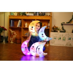 Colorful Moon Shape Plush Luminous Glowing LED Light Pillow 35cm