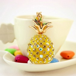 Tropical Fruit Pineapple Crystal Keychain Keyring