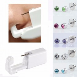 Body Ear Piercing Kit Disposable Safe Sterile Gun+Stud+Alcohol Pad