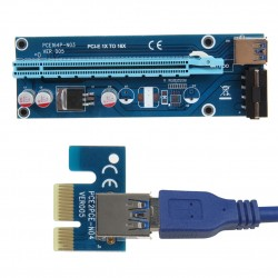 PCIe PCI-E PCI Express Riser Card 1x to 16x USB 30 Data Cable SATA to 4Pin IDE Molex Power