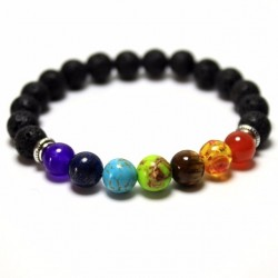 Lava Rock Beaded Stretch Bracelet Unisex