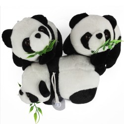 16CM Cute Cartoon Panda With Bamboo Baby Plush Toys Infant Soft Stuffed Animal Key Chain Plush Doll