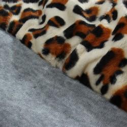 Damesjack met capuchon - fleecejas met luipaardprint