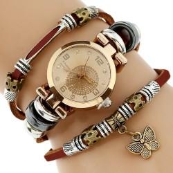 Genuine Leather Triple Bracelet Butterfly Charm Women's Watch