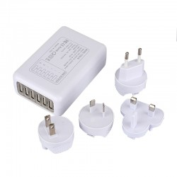 Multifunctional 6 USB Port Travel Charger Incl EU - US - AU - UK Plug