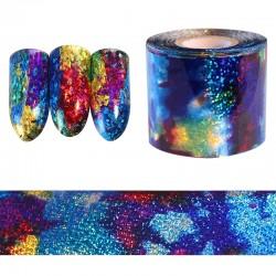 Gradient starry sky - blue holographic paper - foil nail - art sticker - 1m