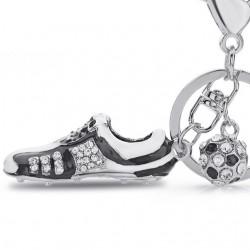 Crystal Football Soccer Shoe Rhinestone Keychains For Car Purse Bag Buckle Pendant Keyrings Key Cha