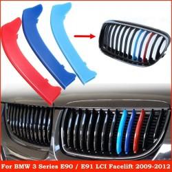 3pcs M Color Kidney Grille Stripe Cover Decor For BMW 3 Series E90 E91 LCI 09-12 ABS Plastic Dark Bl