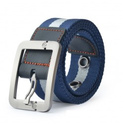 Pin Buckle Knitted Canvas Strap Belt
