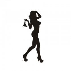 Sexy woman in underwear sticker black / silver