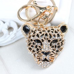 Leopard head pendant with crystal keychain keyring