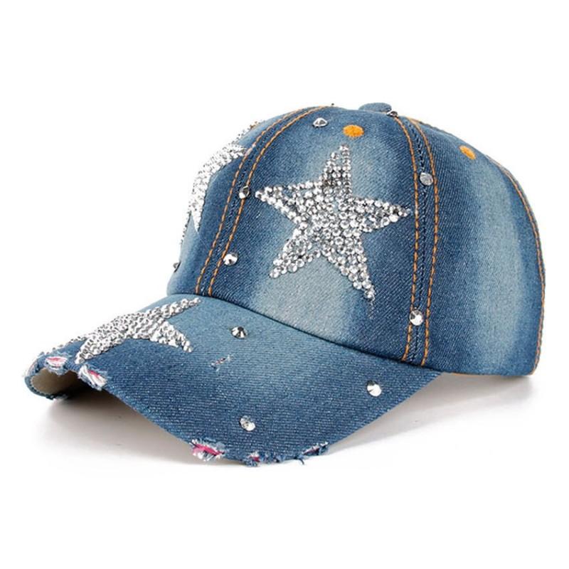Fashion Rhinestones Star Jean Cotton Baseball Cap Buy  70% Discount! 914cc239b6c2