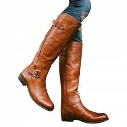 Waterproof Leather High Boots Low Heel Shoes