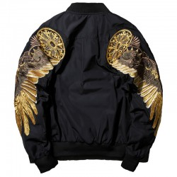 Black Embroidery Bomber Jacket