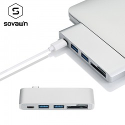 5 in 1 USB 30 Hub Multi Type C Splitter Adapter Card Reader