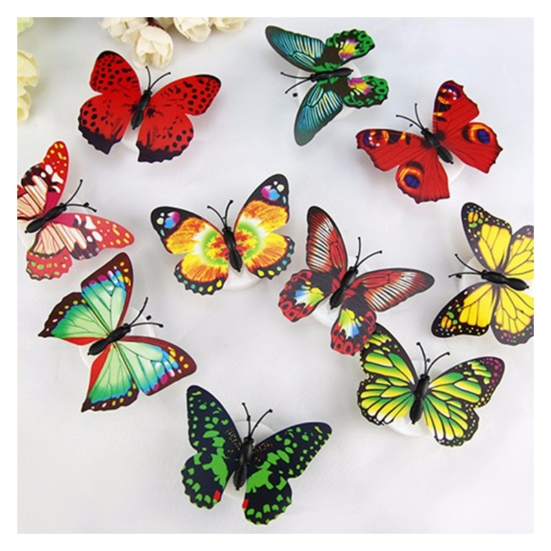 Colorful Artificial Butterfly LED Night Light Lamp Wall Sticker