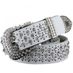 Fashion Rhinestone Leather Belt
