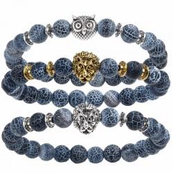2017 Leopard Tiger Eye Lion Head Bracelet Owl Buddha beads Bracelets Bangles Charm Natural Stone Bra