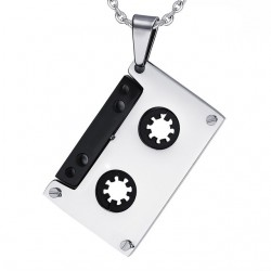 Punk Cassette Tape Pendant Stainless Steel Necklace Unisex
