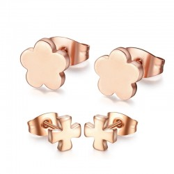 Rose Gold Stainless Steel Earrings 2 pair