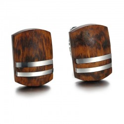 Retro Rosewood Stainless Steel Cufflinks