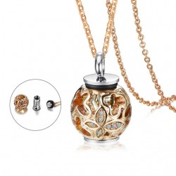 Opened Round Stone Pendant Stainless Steel Necklace