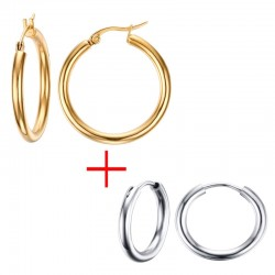 Gold & Silver Hoops Earrings 2 Pair