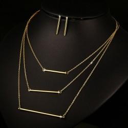 6279822b86cb4 3 Layer Necklace & Earrings Jewellery Set
